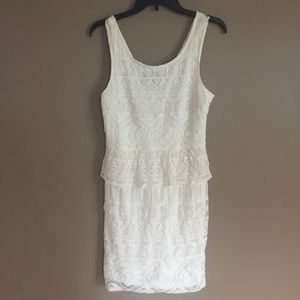 American Eagle cream Lace peplum dress